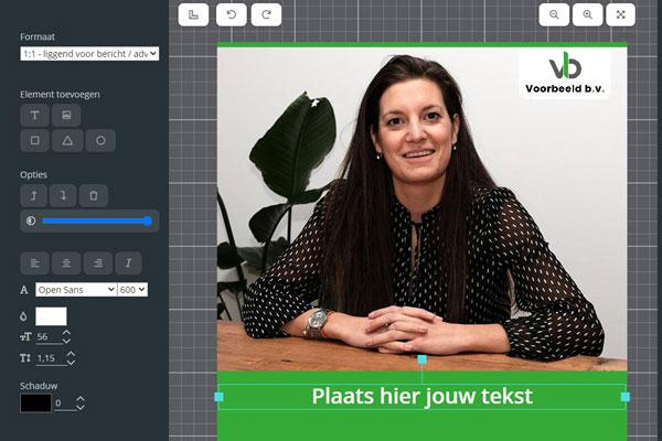 Online editor in onze marketing tool
